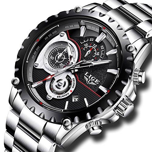 Uhren für Herren,LIGE Edelstahl wasserdicht Sport analog Quarzuhr Chronograph Datum Kalender Business Casual Luxus Kleid Armbanduhr Uhr schwarz