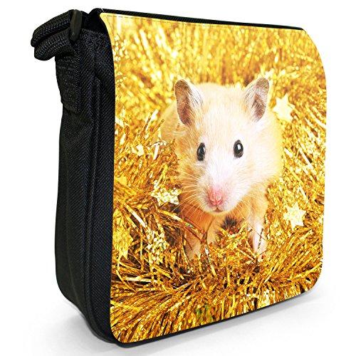 Hamster Piccolo Nero Tela Borsa a tracolla, taglia S Cute Hamster In Tinsel