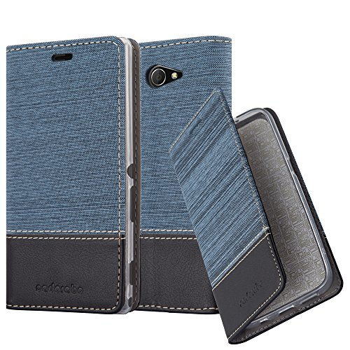 Cadorabo Hülle für Sony Xperia M2 Aqua - Hülle in DUNKEL BLAU SCHWARZ – Handyhülle mit Standfunktion und Kartenfach im Stoff Design - Case Cover Schutzhülle Etui Tasche Book