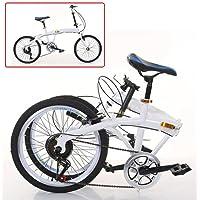Vélo pliant 20 pouces 7 vitesses - Double V - Frein en acier au carbone - Vélo pliable 44T - Blanc