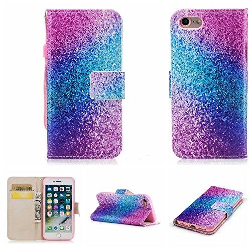 Ooboom® iPhone 5SE Hülle Flip Folio PU Leder Schutzhülle Handy Tasche Brieftasche Case Cover Stand für iPhone 5SE - Einhorn Sand Bunt