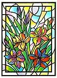 dpr. Fensterbild Tiffany Optik Lilie Blumen statisch haftende Fenstersticker Fensterdeko