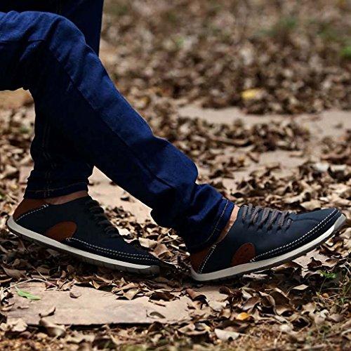 ZXCV Scarpe all'aperto Scarpe da uomo casual piatte in pelle da uomo Blu