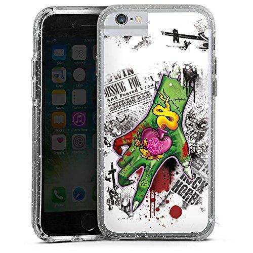 Apple iPhone 6 Bumper Hülle Bumper Case Glitzer Hülle Tattoo Zombie Zombi Bumper Case Glitzer silber