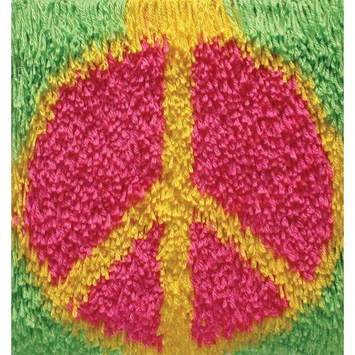 Wonderart Shaggy Knüpfset Flower Power, Peace Sign, 30,5 x 30,5 cm (Wonderart Kits Latch-hook)
