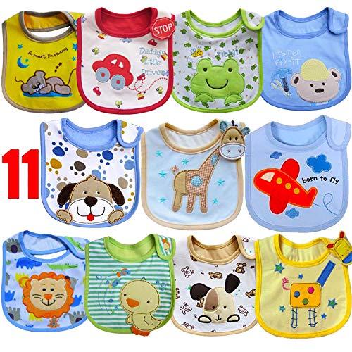SLOSH 11 Baberos Impermeables Bebe Bandana Velcro para Recien Nacido Unisex