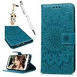 Étui en similicuir motif tournesol en relief avec béquille, rabat portefeuille à fermeture aimantée avec fentes pour cartes et dragonne bleu
