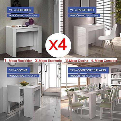 Mesa de comedor consola extensible hasta 235 cm, acabado blanco brillo