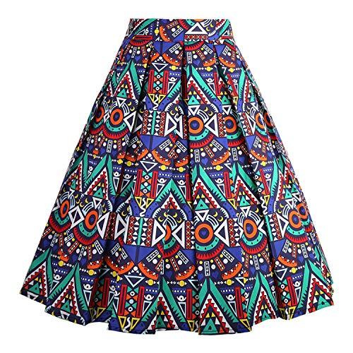 DresseverBrand Damen Rockabilly Rock A Linie Retro Rock Midi Swing R?cke African-Print Large -