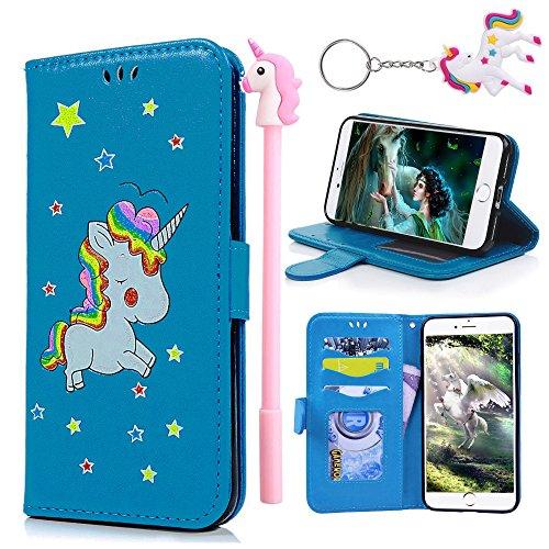 E-Mandala Custodia Cover Samsung Galaxy J3 2016 2015 Unicorni Pelle aLibro Flip Case Portafoglio ModelloDisegni Silicone Antiurto Morbido Bumper - Blu