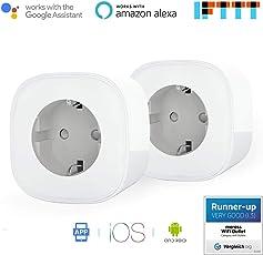 Presa Intelligente Wi-Fi da16A Potenza 3680W Gestione Elettrodomestici da Remoto tramite App Android e Ios Compatibile con Alexa, Google Assistant e IFTTT Smart Plug MSS210 (2 Pezzi) da Meross