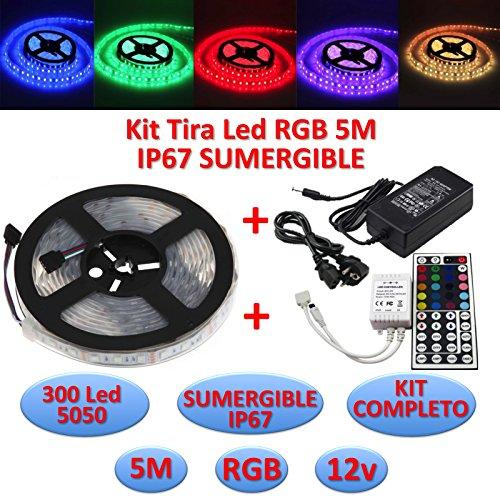 Kit Tira Led RGB 5050 SUMERGIBLE IP67 + Controlador 44 Teclas + Transformador 5A 12v (5 Metros, 300 leds, 60 led/m, IP67)