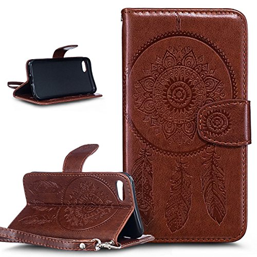 Custodia iPhone 7,iPhone 7 Cover, ikasus® iPhone 7 Custodia Cover [PU Leather] [Shock-Absorption] Protettiva Portafoglio Cover Custodia Goffratura Henna Mandala floreale Blumen Dreamcatcher Etnia Camp Dream Catcher:Marrone
