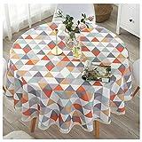 CYSTYLE ölbeständig Haus Dekor Baumwolle und Leinen Runde Oval gedruckt Dot Punkt Tischdecke (Stil 8, Durchmesser 140cm)