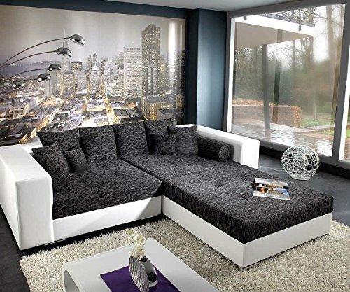 DELIFE XXL-Sofa Marlen Schwarz Weiss 300x140 inklusive Hocker Bigsofa