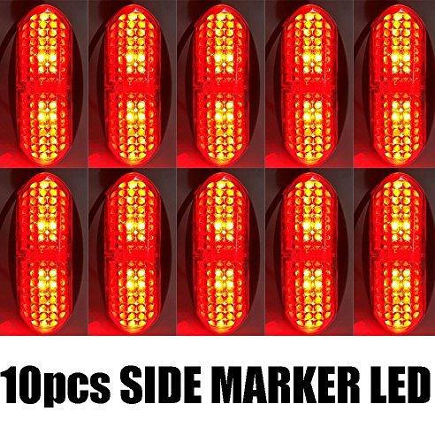 purishion 10x 4LED begrenzungen Licht, vorne hinten Seite Marker Indikatoren Licht für Auto Truck Bus Trailer Van Caravan Boot, Bremse Stop Rücklicht Lampe 12V (Light Trailer Lense Tail)