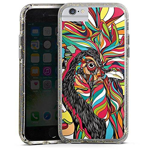 Apple iPhone 8 Bumper Hülle Bumper Case Glitzer Hülle Hahn Bunt Colourful Bumper Case Glitzer gold