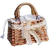 iBàste Kinder Mini Handtasche Mini Handtasche gewebte Korb Geldbörse für kleine Mädchen Kleinkinder
