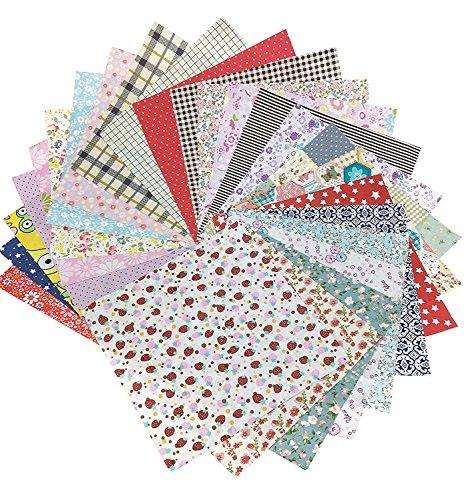 25Pcs Baumwollstoff Patchwork Stoffe DIY Gewebe Quadrate Baumwolltuch Stoffpaket zum Nähen mit vielfältiges Muster 20x20cm