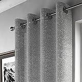 Mirabel - Voilevorhangschal mit halbtransparentem Muster und Ösenaufhängung - Glitzernd - Silbergrau - 140 x 183 cm B x L
