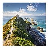 Vliestapete - Nugget Point Leuchtturm und Meer Neuseeland - Fototapete Quadrat Vlies Tapete Wandtapete Wandbild Foto 3D Fototapete, Größe HxB: 192cm x 192cm