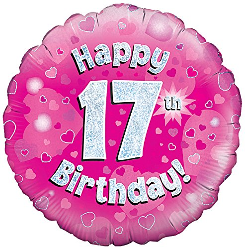 Oaktree UK 18Happy 17. Geburtstag Holographisches Folie Design Luftballons, pink (Geburtstag 17 Ballons)