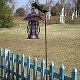 HomJo Éclateur d'insectes électroniques solaires feux de sentiers de jardin lampe à gazon repulseur d'insectes électriques Zapper de bogue mouche anti-moustique utilisation à l'extérieur , A
