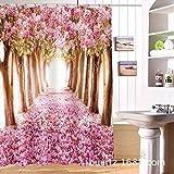 ZHAS Kreative CD-Cherry Blossom Wald Foto Duschvorhang Wasserdicht 3D W 180 X 180 cm hoch