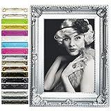 WOLTU br9848sb Cadre photo style baroque, Façade en verre,diverses couleurs en 5 formats au choix,13x18,Argent