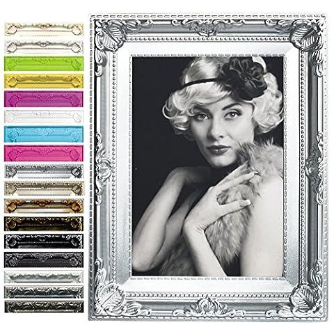 WOLTU BR9848sb Bilderrahmen Bildergalerie Fotogalerie , Foto Collage Galerie , Holz und Esbtglas , Antik Vintage Ssbabby , Silber , 13x18