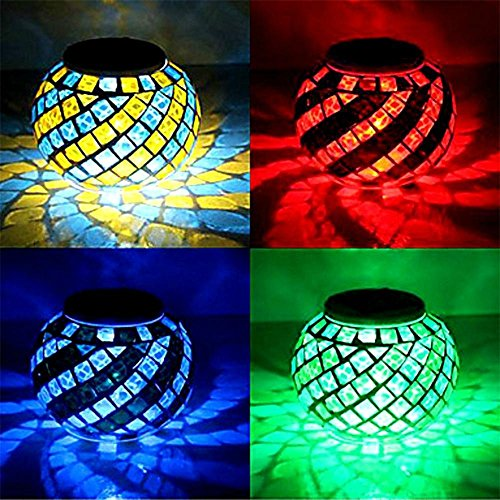 Wasserdichte Solarbetriebene Mosaik Solarleuchten, Farbwechsel Solar Tischleuchten, LED Magic Sunshine Ball Farbe ändernde Lovely Night Lights Party Lights Crystal Glass Globe Ball