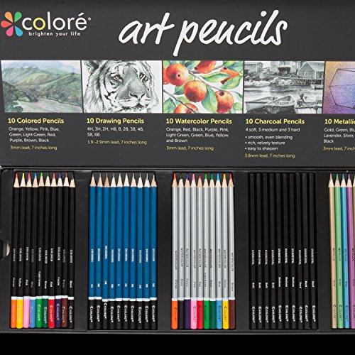 Colore Premium-Zeichenbleistifte, Set mit 50verschiedenen Bleistiften, für Malbücher & Bücher,Mal-/Aquarell-/Zeichen-/Kohle-Bleistifte und Bleistifte mit Metallic-Farben, für Studenten, Kinder & Erwachsene, Schulbedarf 50 Art Pencils