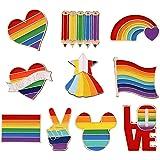 MKSI 10 Pezzi Orgoglio Smalto Spille LGBT, Spille con Smalto Arcobaleno, Gay Pride Pin per Vestiti Borse Giacca Accessori di