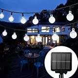 Solar String Lights Garden, 24 Ft 30 Waterproof Crystal Ball LED Fairy Lights Outdoor Solar Powered Lights, Decorative Lighti