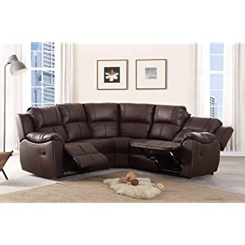 New Marbella Large Leather Reclining Corner Sofa Recliner Brown