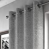 Mirabel - Pan de rideau style voilage - effet scintillant - accroche oeillets - Gris argenté - l 140 x L 183 cm