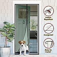 Magnético Protector de puerta con fotograma completo Velcro, manos libres reforzada malla cortina con 26 imanes, cierre automáticamente, antimosquitos, para puertas de tamaño de hasta 90 x 210mm, niños y mascotas
