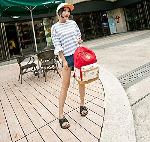 Hosaire 1X Ragazze Ladies Womens stampa tela zaino zaino scuola borsa Casual Borsa zainetto,rosa,Dimensioni: 30 * 17 * 44 centimetri Rosso