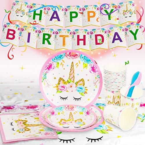 FAMINESS Einhorn Party Zubehör 114pcs Geburtstag Party Dekorationen Set Einweg Pink Mädchen Einhorn Geschirr Kit Teller Becher für 16 Kinder Geburtstagsgeschenk, Kindergeburtstag Partyzubehör