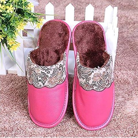 ZHLONG Slittamento coperto di Lady slipper in autunnale e invernale calde casuale ecopelle Pantofole , rose red , large