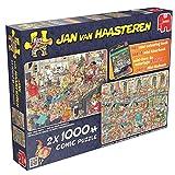 Jumbo 19024 - Jan Van Haasteren - Happy Holidays - 2 x 1000 Teile, Malbuch gratis
