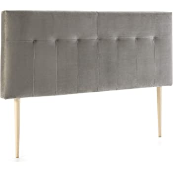Marckonfort Tête de lit tapissée Napoles 140X100 cm Gris, pour Couchage de  135, Velours 0af2bf934d0c