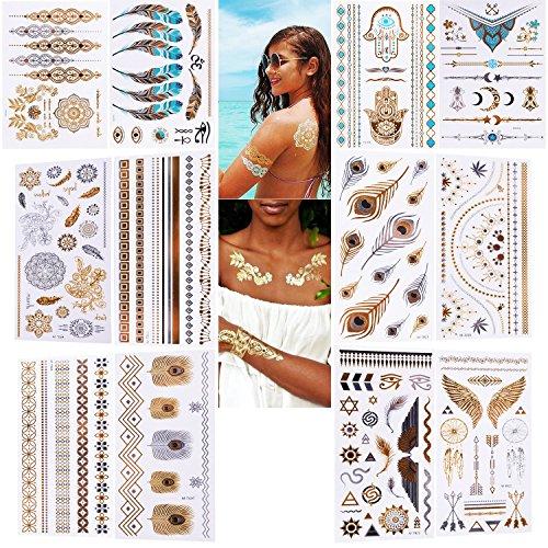 Tatouages Temporaires, RIRGI 12 Feuilles Tatouage Ephémère Ultra-Réaliste Tattoos Stickers Dorés Tatouages Autocollants Esthétiques Imperméable pour Femme