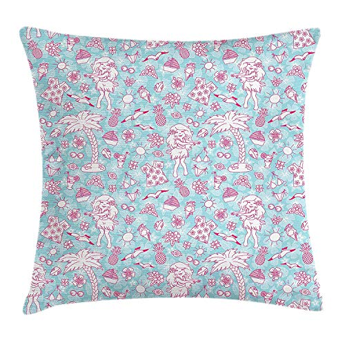 Hawaii Throw Pillow Cushion Cover, Tropic Doodle with American Girl Wearing Grass Skirt Flower Patterned Shirt, Decorative Square Accent Pillow Case, 18 X 18 inches, Pale Blue Pink