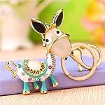 Demana Cute Animal Donkey Fashion Keychain Crystal Purse Charm Bag Hanging Acessory Rhinestone Key Chain Keyring Pendant...