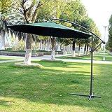 3m Garden Parasol Sun Shade Patio Banana Hanging Rattan Set Umbrella Cantilever Green