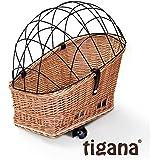 Tigana - Hundefahrradkorb für Gepäckträger aus Weide Natur 56 x 36 cm mit Metallgitter Tierkorb Hinterradkorb Hundekorb für Fahrrad + Kissen (N-S)