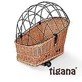 Tigana - Hundefahrradkorb für Gepäckträger aus Weide 56 x 36 cm mit Metallgitter Tierkorb Hinterradkorb Hundekorb für Fahrrad