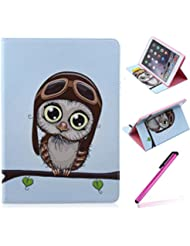 iPad Air 2 (iPad 6, 6th Generation released 2014) Funda,EMAXELERS Synthetic PU Cuero Billetera Iman Dise?o Flip Stand Funda Cover Para Apple iPad Air 2 (iPad 6, 6th Generation released 2014) + 1 Stylus Pen (Cut brown owl)