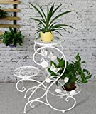 HLC Klassiche Metall Blumenständer Blumentreppe mit 3 Töpf,S-formig, Weiß